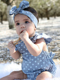 Polka Dot Butterfly Sleeve Romper + Headband