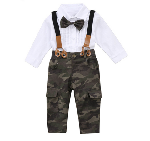Bowtie Top + Suspender Camo Pants