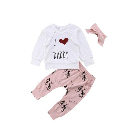 I Love Daddy Top + Pants 3pcs Set