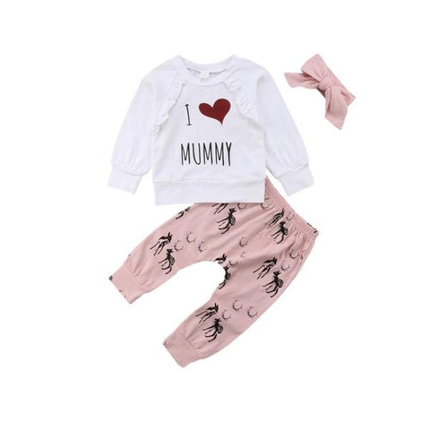 I Love Mummy Top + Pants 3pcs Set