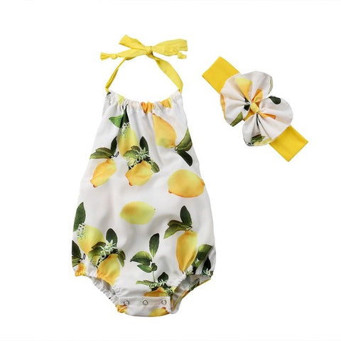 Lemon Strap Romper 2pcs Set