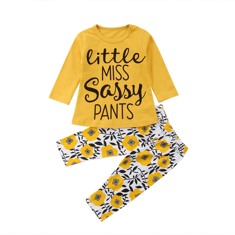 Little Miss Sassy Top + Floral Pants