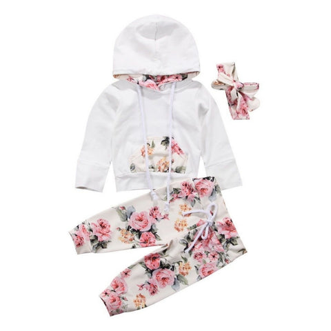 Mikaela Hooded Top + Floral Pants 3pcs Set