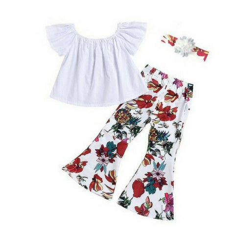 Off Shoulder Top + Floral Bell Pants 3pcs Set
