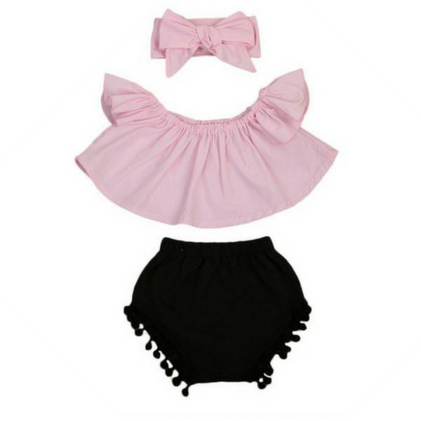 Off Shoulder Top + Tassel Shorts 3pcs Set