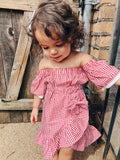 Red Plaid Ruffled Dress