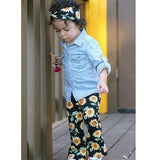 Denim Top + Sunflower Pants 3pcs Set