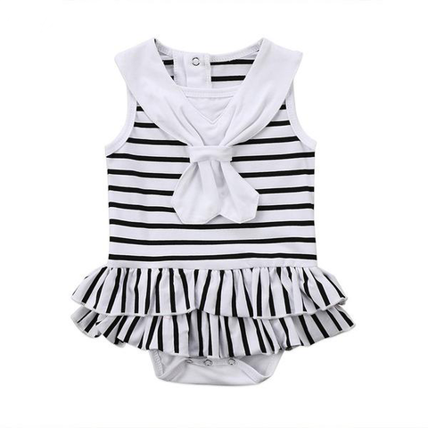 Striped Bow Tie Romper