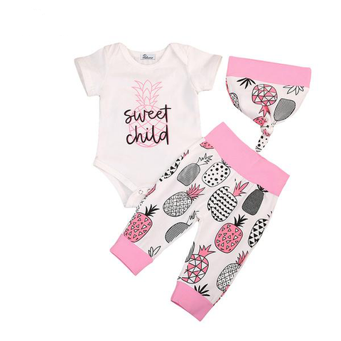 Sweet Child Bodysuit + Pineapple Pants 3pcs Set
