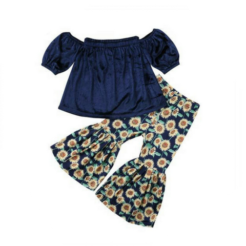 Velvet Off Shoulder Top & Sunflower Bell Pants