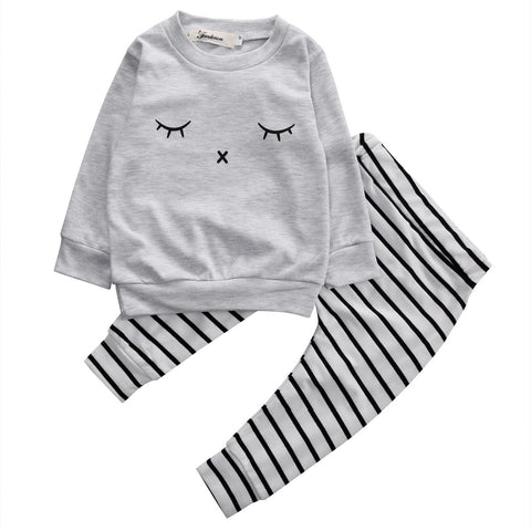 Closed Eye Striped Clothing Set