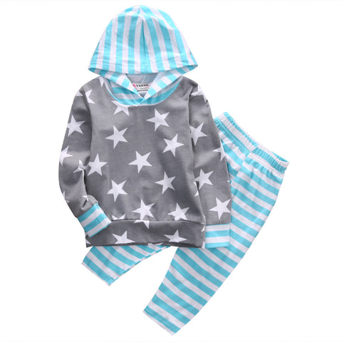Star Blue Striped Clothing Set