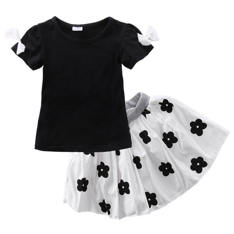 Girl Flower Black & White Clothing Set