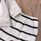 Panda Bear Striped Clothing Set