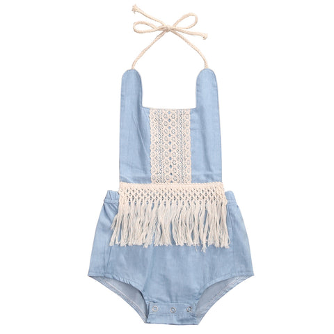 Light Denim Tassel Romper