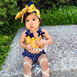 3pcs Yellow and Navy Polka Dot Set