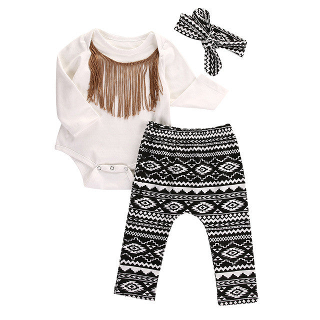 3pcs Patterned Tassel Bodysuit Set