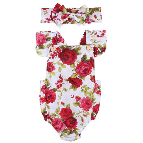 Red Rose Floral Romper + Headband