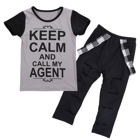 Keep Calm Top + Distressed Pants