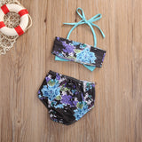 Black Floral Teal Bow Bathing