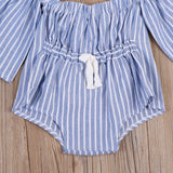 Striped Flared Sleeve Romper