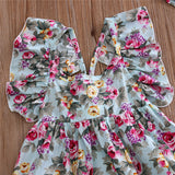 Floral Ruffled Back Cross Dress + Headband