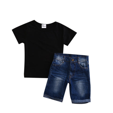 Denim Shorts + Black T-Shirt