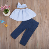 Light Blue Striped Crop Top + Distressed Jeans 3pc Set