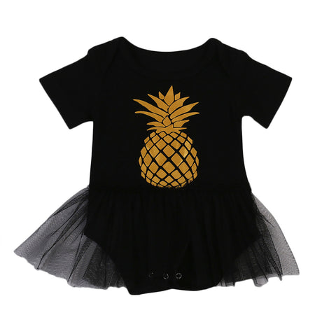 Black & Gold Pineapple Tutu Bodysuit