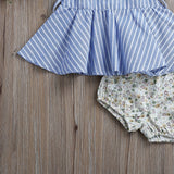 Blue Sleeveless Plaid Top + Floral Shorts