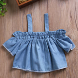 Ruffled Denim Off Shoulder Top