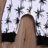 Palm Tree Sleeveless Hooded Romper
