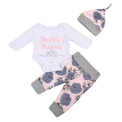 Daddy's Princess Bodysuit + Floral Pants 3pcs Set