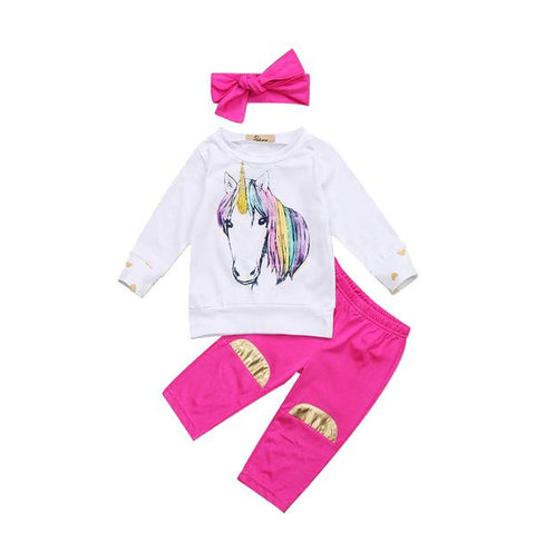 Golden Heart Unicorn Top + Pants 3pcs Set