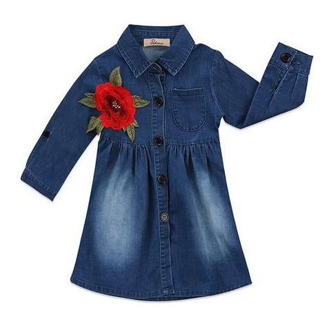 Red Rose Denim Dress
