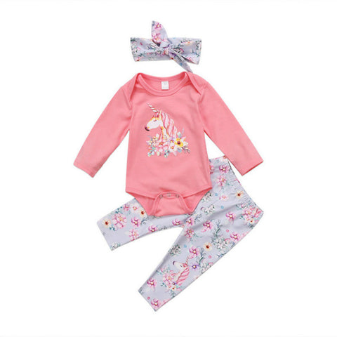 Suzette Unicorn Bodysuit + Floral Pants 3pcs Set