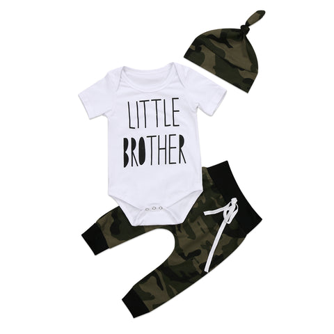 Little Brother Bodysuit + Camo Pants 3pcs Set