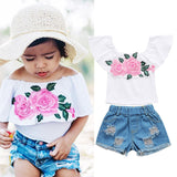 Ivy Floral Top + Ripped Shorts