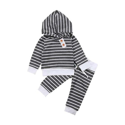 Striped Hooded Top & Pants Clothing Set