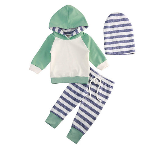 Hooded Jacket & Striped Pants 3pcs Set