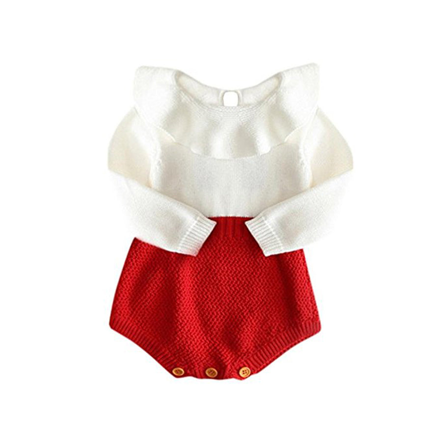 White & Red Knitted Romper
