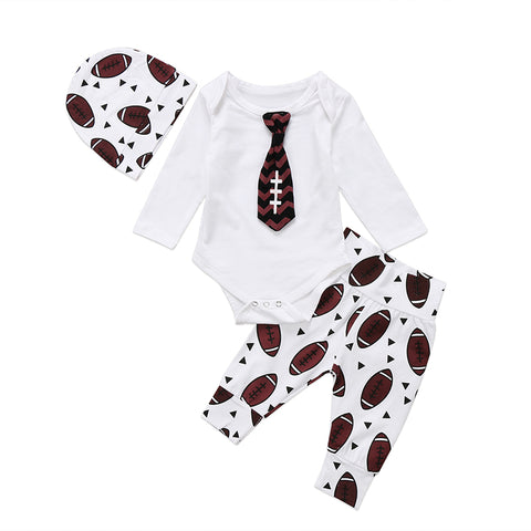 Football Tie Bodysuit + Pants 3pcs Set