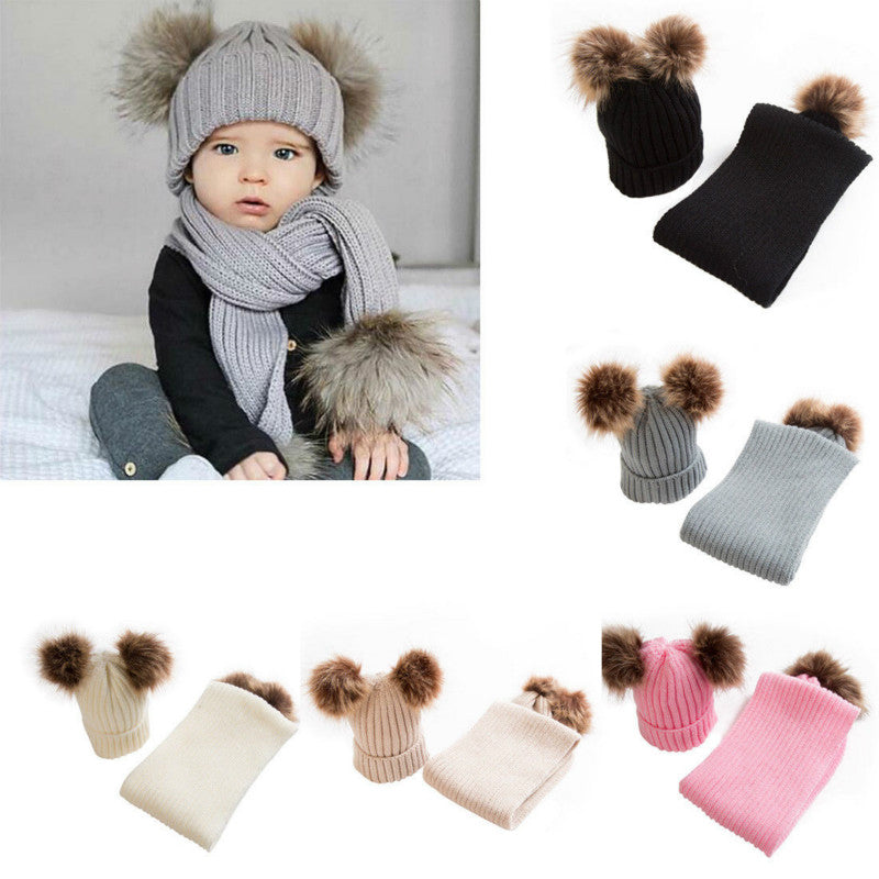 934c7609cddb7 Knitted Pom Pom Hat + Scarf. Images   1   2   3 ...
