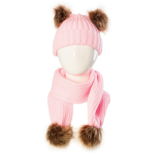 27c8d249a8f9a Knitted Pom Pom Hat + Scarf – Tully s Treasures