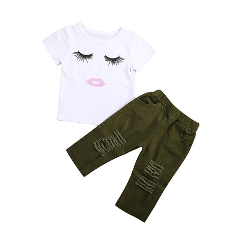 Eyelash Top & Green Pants