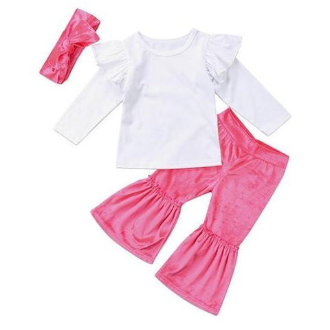 Mia White Top + Pink Pants 3pcs Set