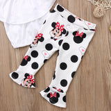 Girls White Top And Minnie Pants Set