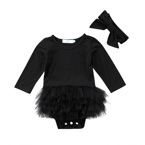 Black Tutu Bodysuit + Headband