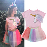 Unicorn Top + Rainbow Tutu Skirt
