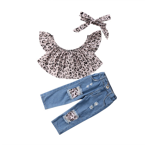 Leopard Crop Top & Ripped Jeans 3pcs Set